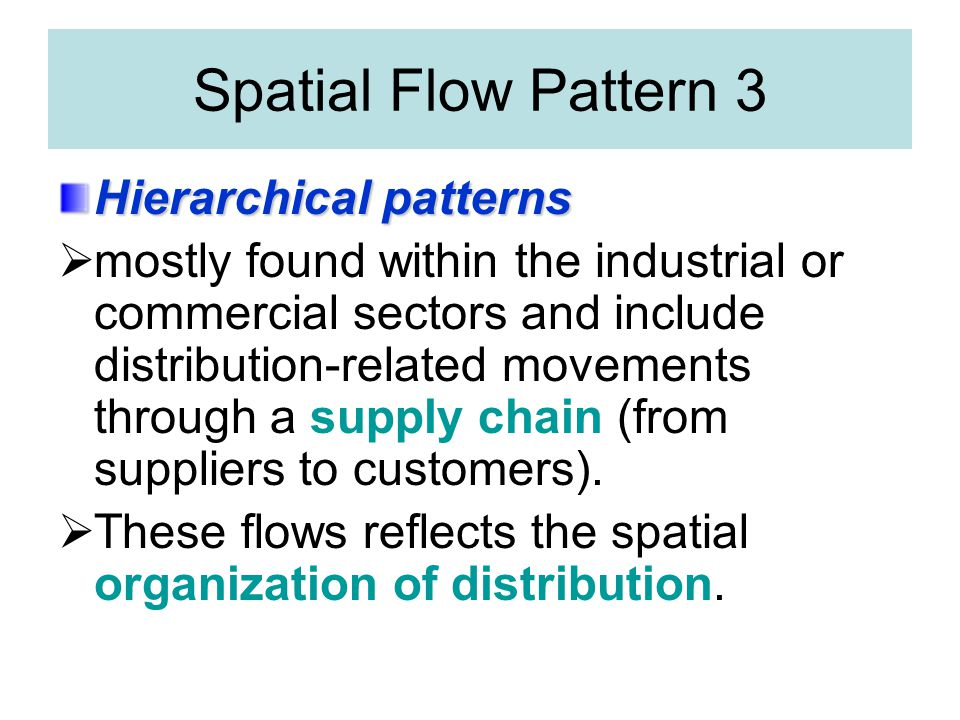 Spatial Flow Pattern 3 Hierarchical patterns