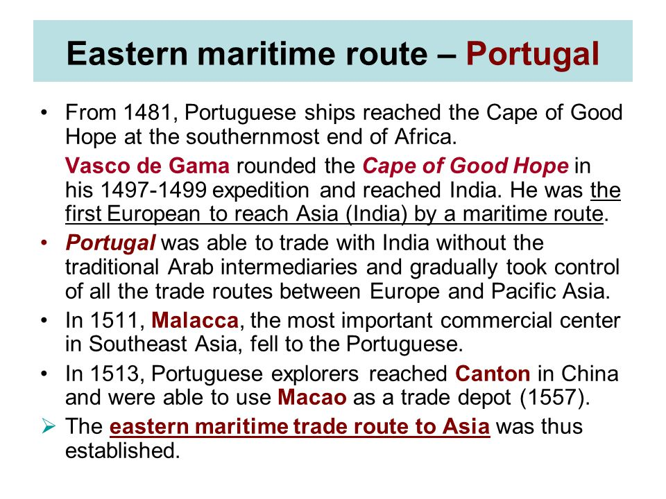 Eastern maritime route – Portugal