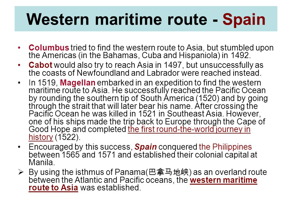 Western maritime route - Spain