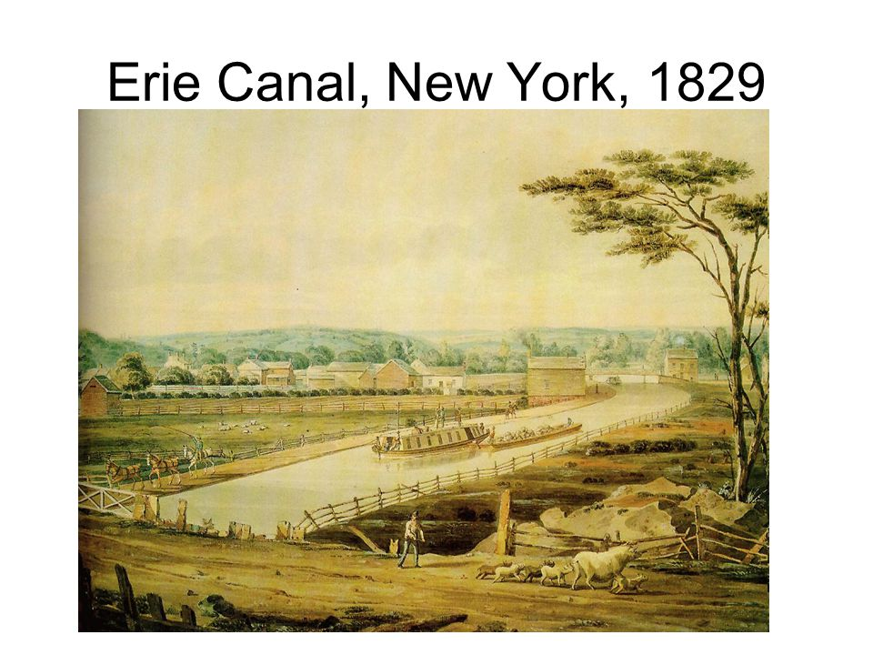 Erie Canal, New York, 1829 View of Erie Canal by John William Hill, Watercolor on paper, 9 3/4 x 11 3/4 inches.