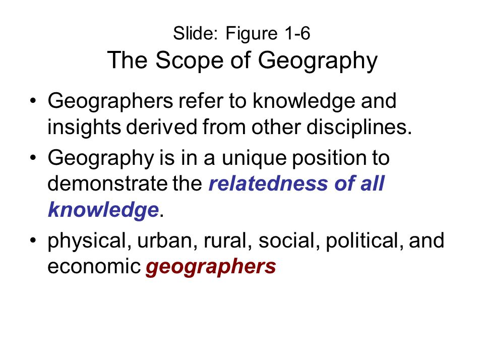 Slide: Figure 1-6 The Scope of Geography