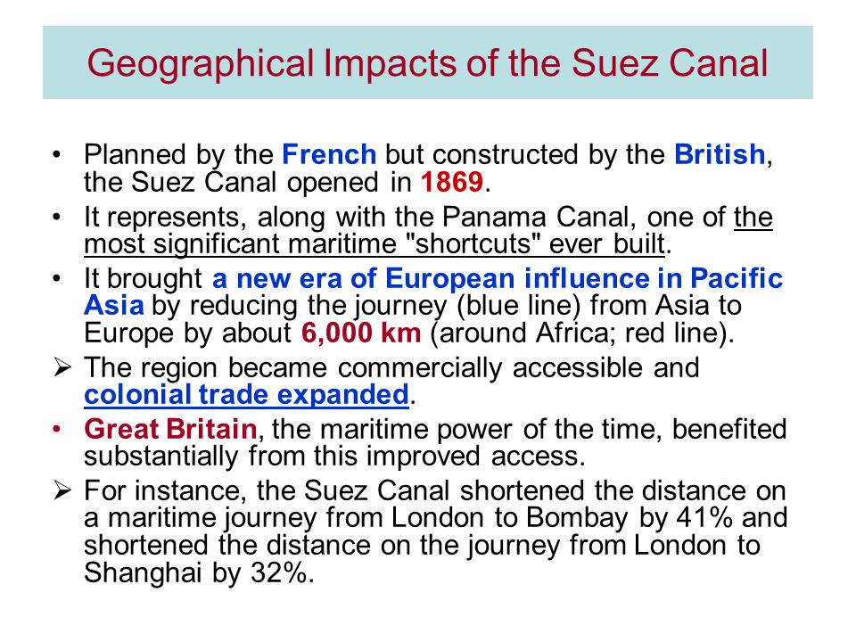 Geographical Impacts of the Suez Canal