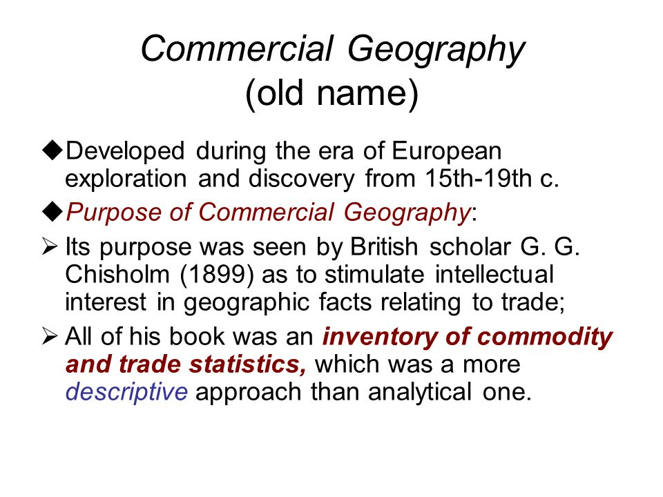Commercial Geography (old name)