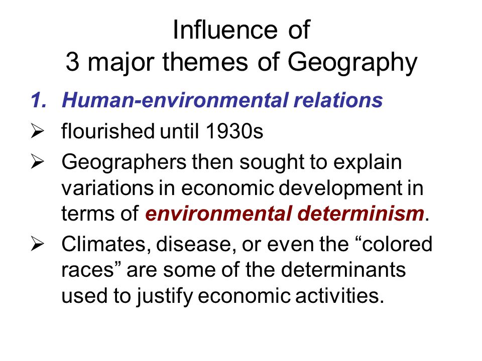 Influence of 3 major themes of Geography
