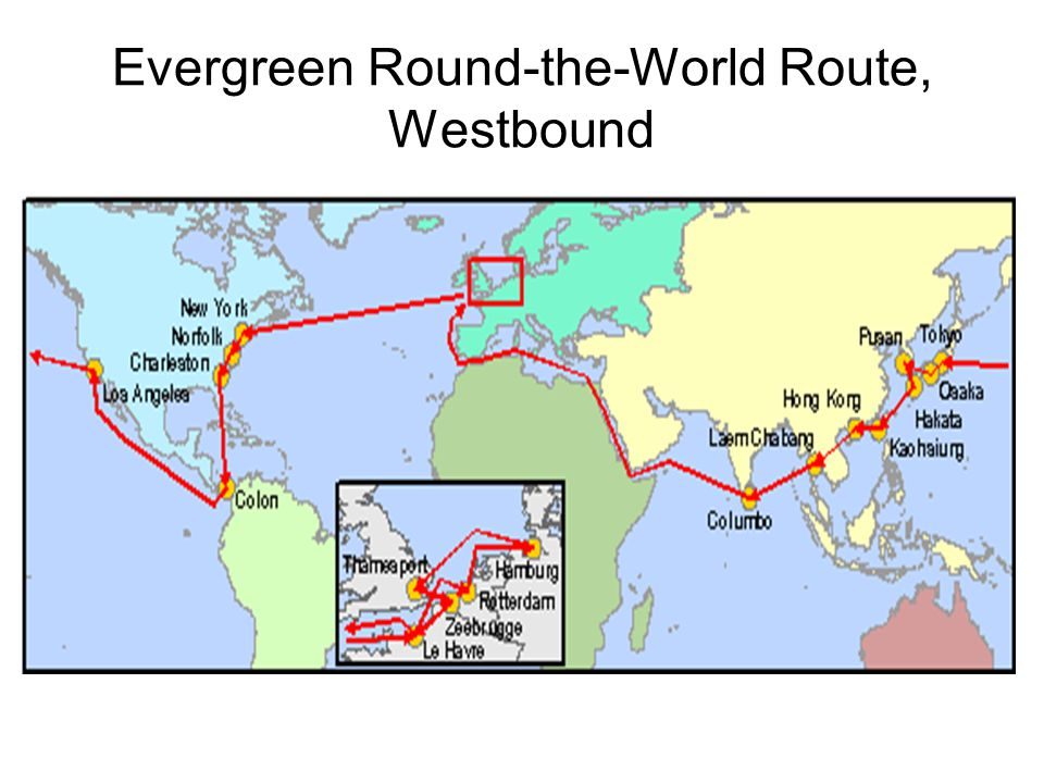 Evergreen Round-the-World Route, Westbound