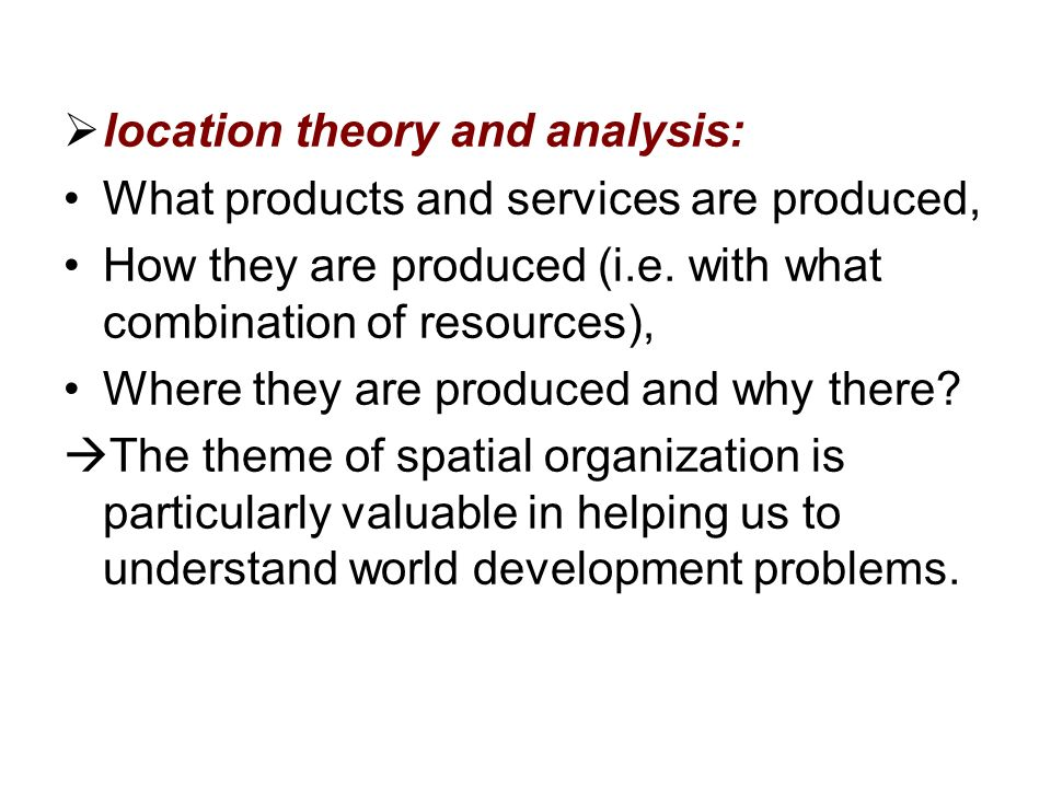 location theory and analysis: