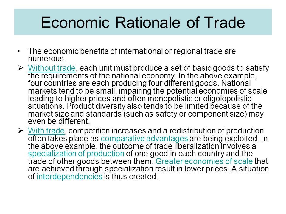 Economic Rationale of Trade