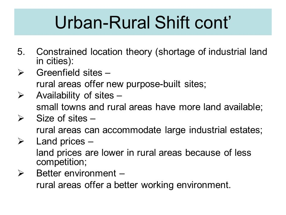 Urban-Rural Shift cont'