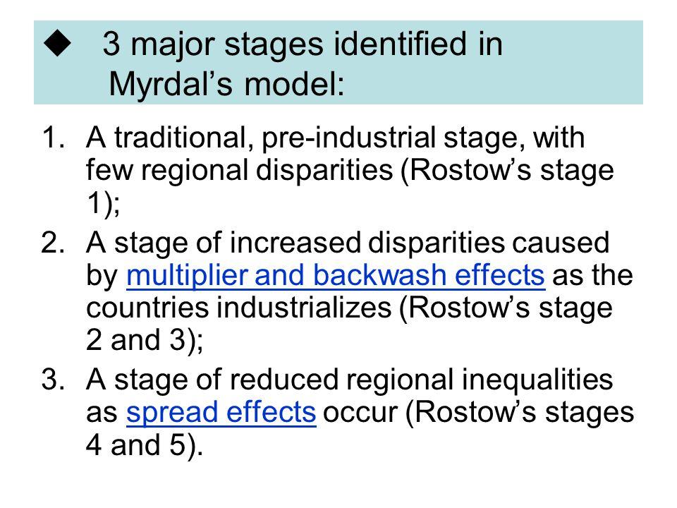 3 major stages identified in Myrdal's model: