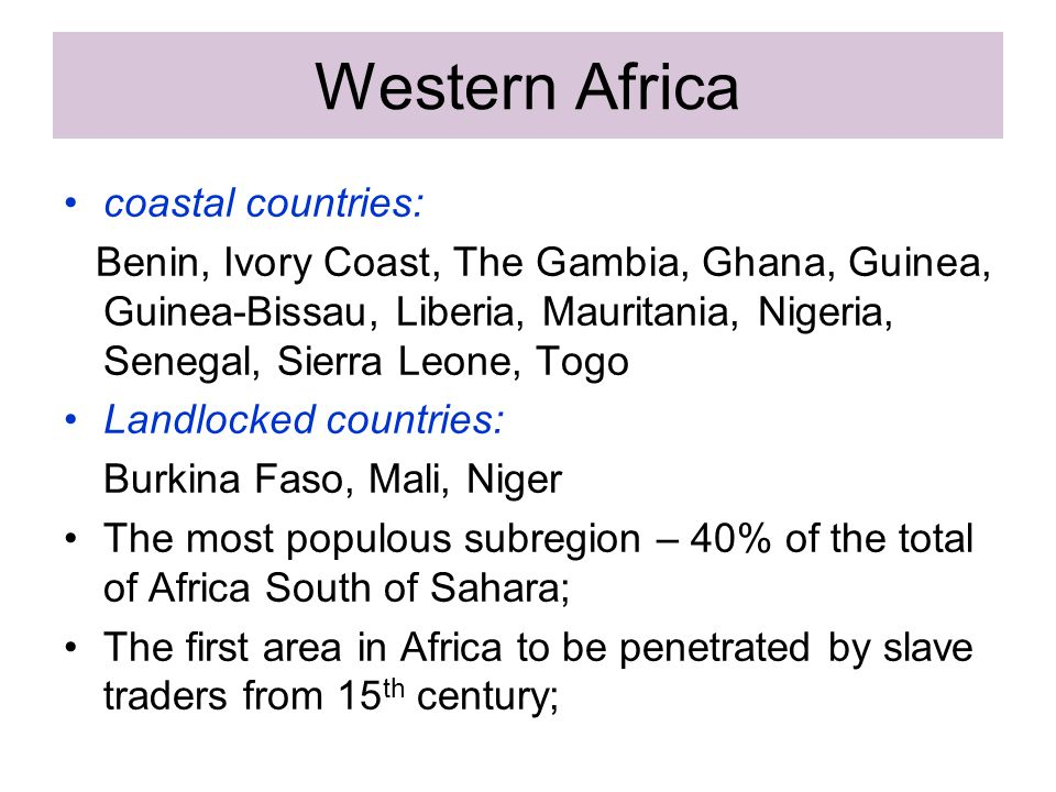 Western Africa coastal countries: