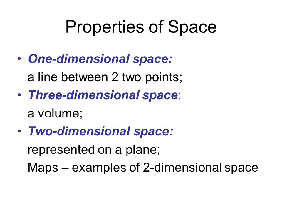 Properties of Space One-dimensional space: