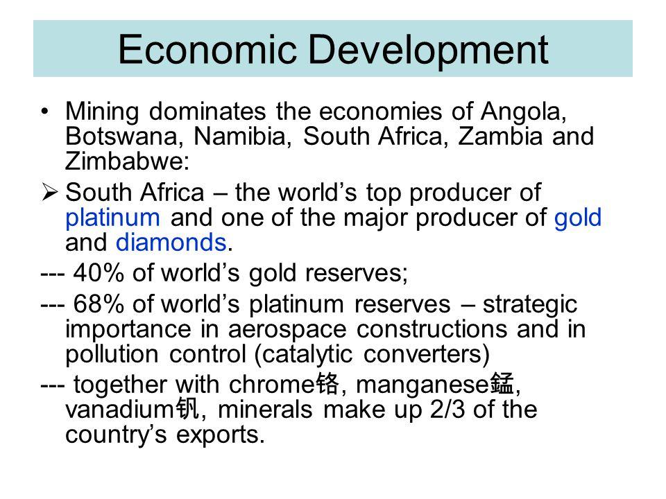 Economic Development Mining dominates the economies of Angola, Botswana, Namibia, South Africa, Zambia and Zimbabwe: