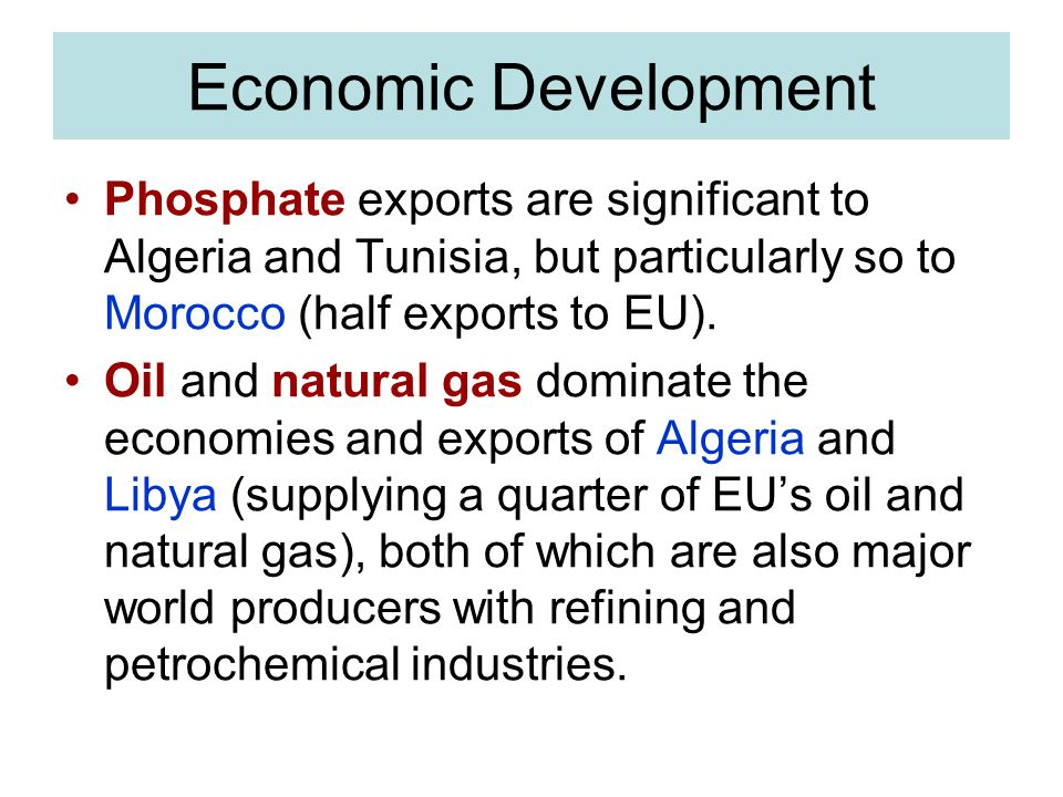 Economic Development Phosphate exports are significant to Algeria and Tunisia, but particularly so to Morocco (half exports to EU).