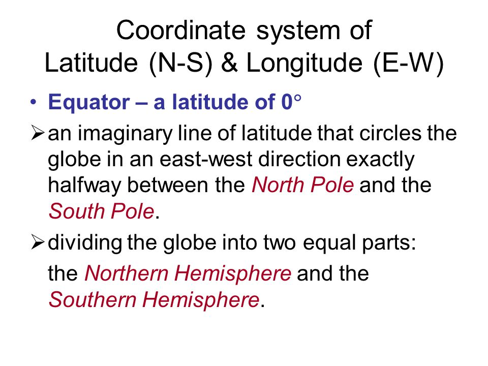 Coordinate system of Latitude (N-S) & Longitude (E-W)