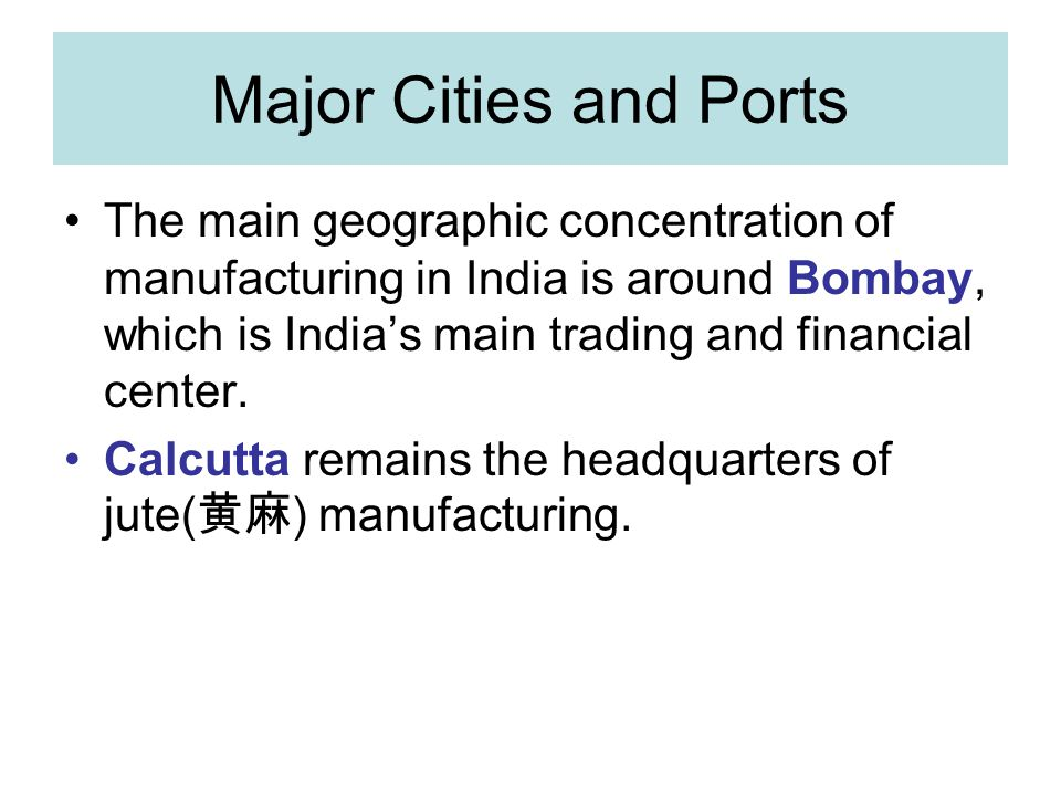 Major Cities and Ports
