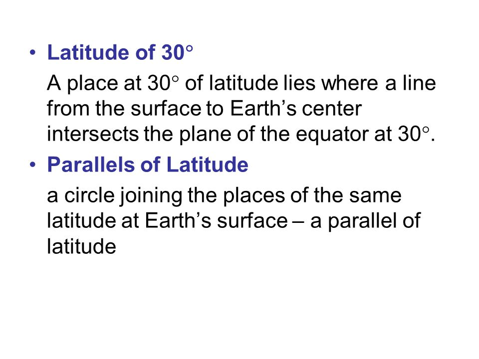 Latitude of 30 A place at 30 of latitude lies where a line from the surface to Earth's center intersects the plane of the equator at 30.