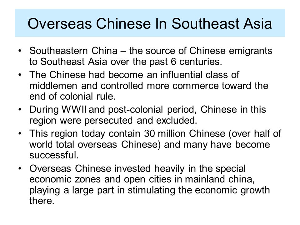 Overseas Chinese In Southeast Asia
