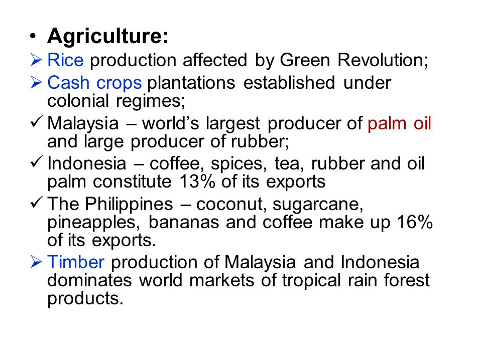Agriculture: Rice production affected by Green Revolution;