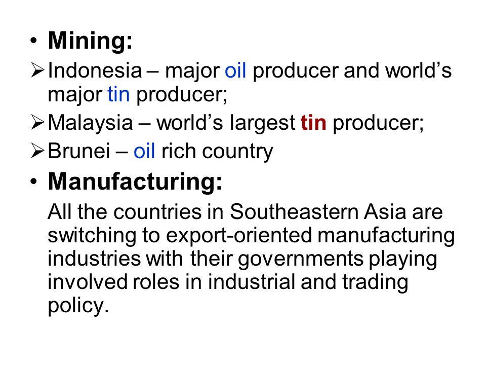 Mining: Manufacturing: