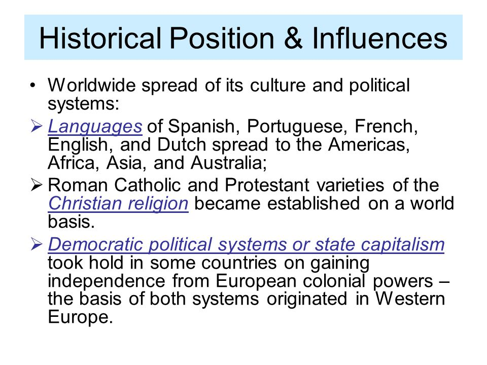 Historical Position & Influences