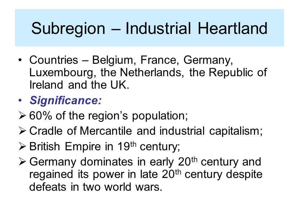 Subregion – Industrial Heartland