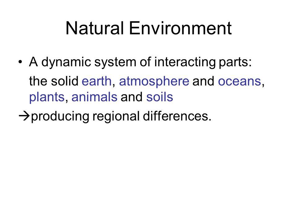 Natural Environment A dynamic system of interacting parts: