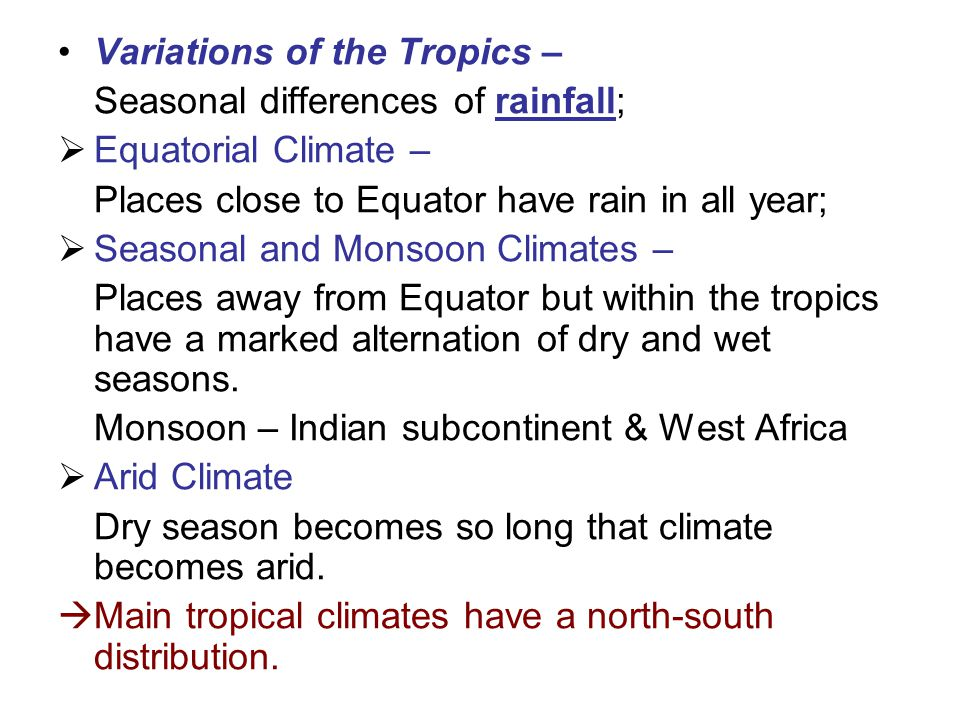 Variations of the Tropics –