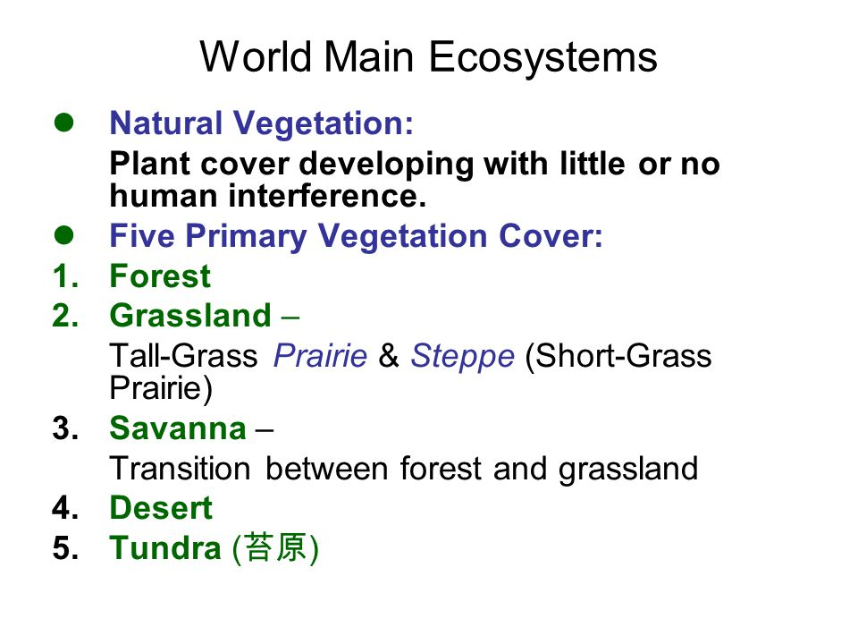 World Main Ecosystems Natural Vegetation: