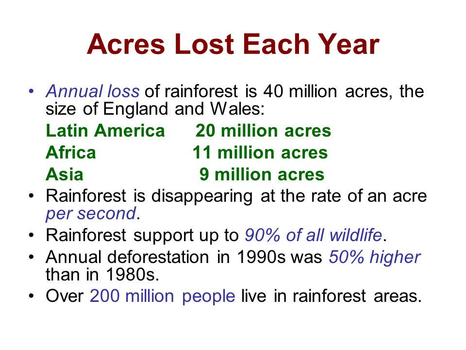 Acres Lost Each Year Annual loss of rainforest is 40 million acres, the size of England and Wales: Latin America 20 million acres.