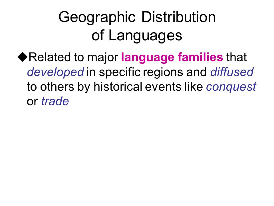 Geographic Distribution of Languages