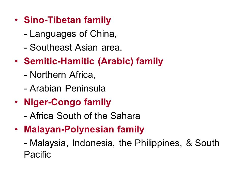 Sino-Tibetan family - Languages of China, - Southeast Asian area. Semitic-Hamitic (Arabic) family.