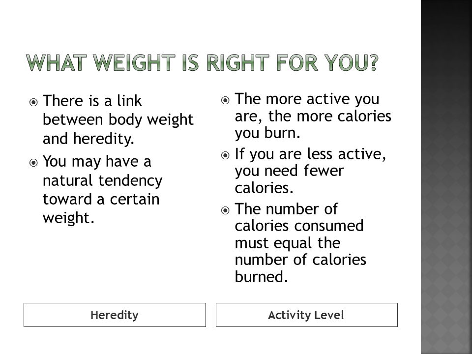 What weight is right for you