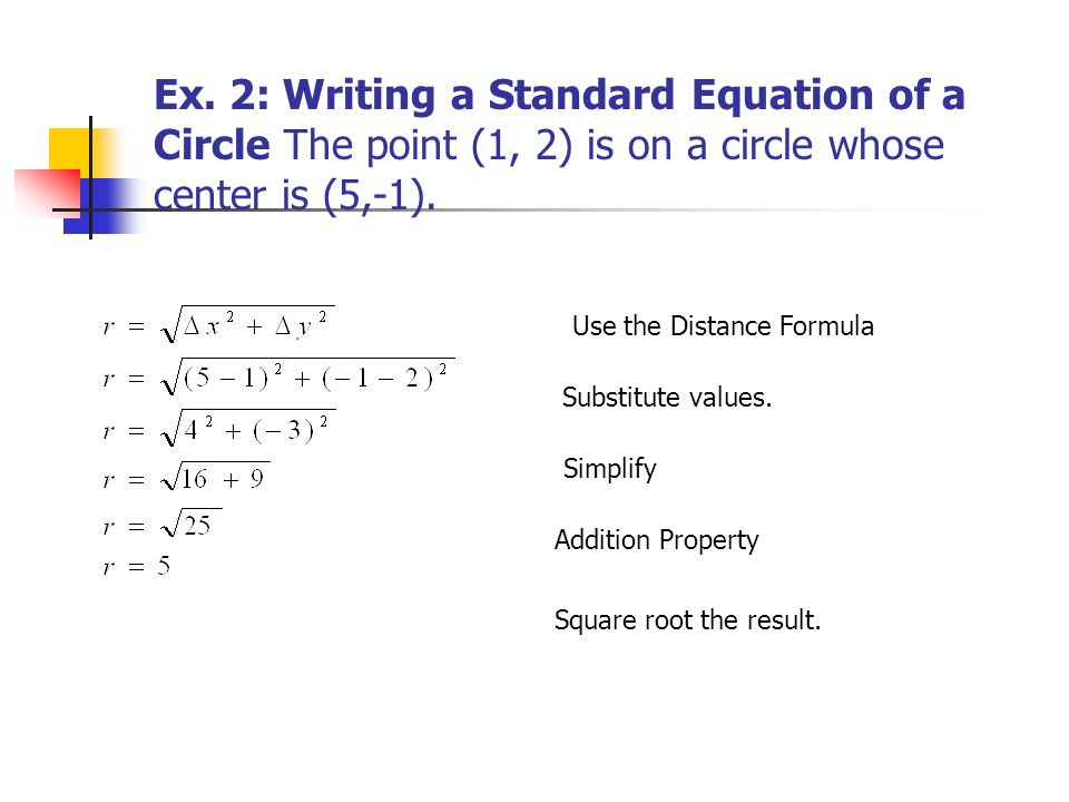 write the equation of a circle Given a circle on the coordinate plane, sal finds its standard equation, which is  an equation in the form (x-a)²+(y-b)²=r².