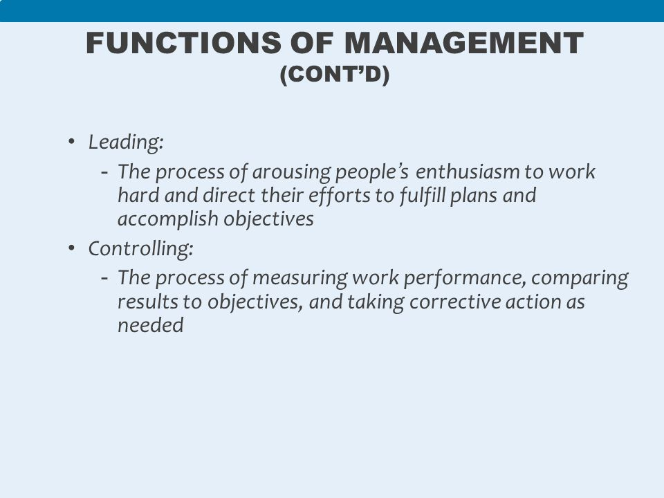 four functions management 35 Basic management functions  the department or unit must ensure that it answers four critical questions: 1  planning 35 9781449688851_ch03_031_052indd page 35 .