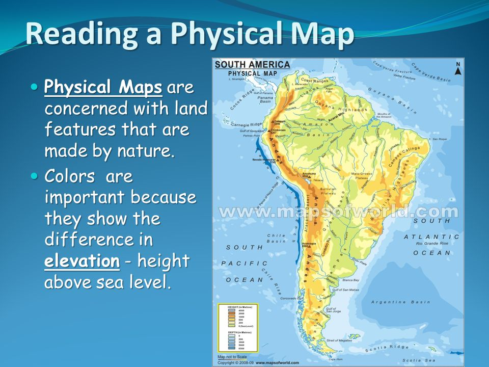 Unit 1 map and globe skills ppt download reading a physical map physical maps are concerned with land features that are made by nature gumiabroncs Gallery