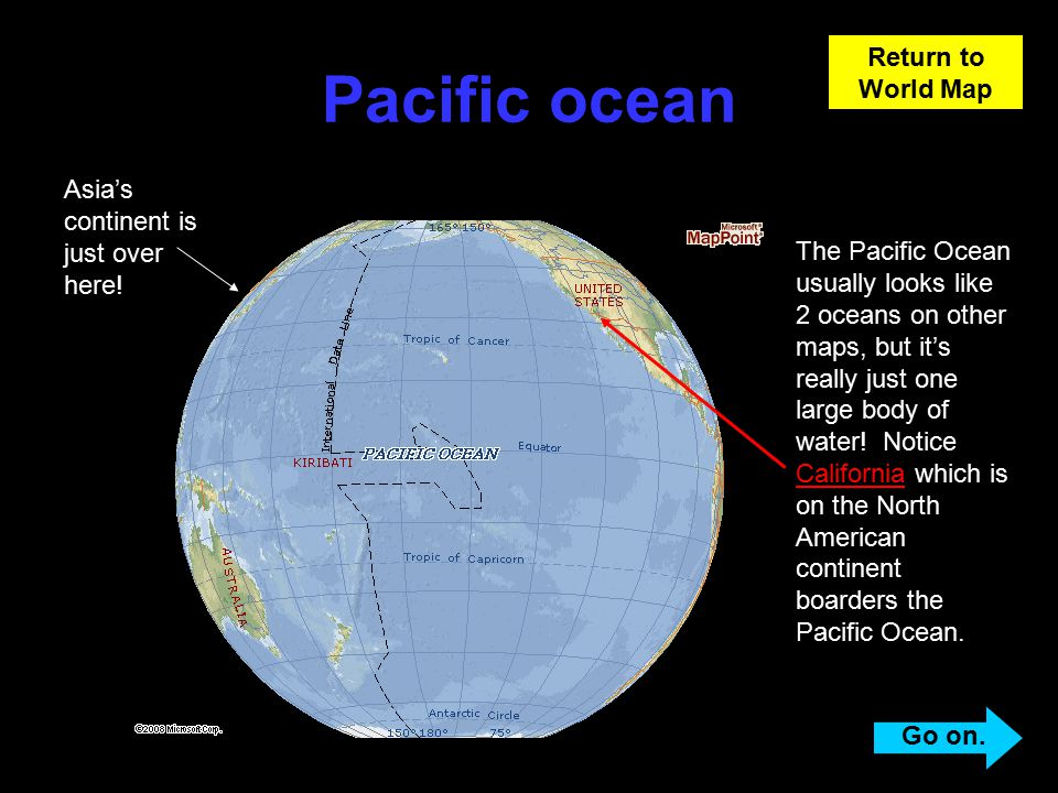 Learning about the earth ppt video online download pacific ocean return to world map asias continent is just over here gumiabroncs Choice Image