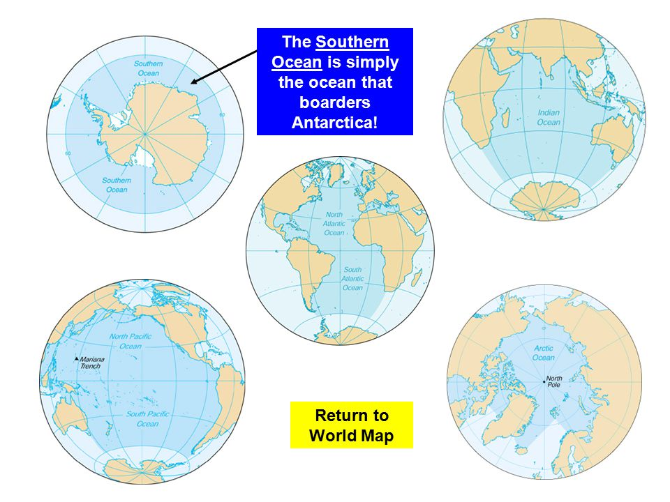 Learning About The Earth Ppt Video Online Download - Southern ocean in world map