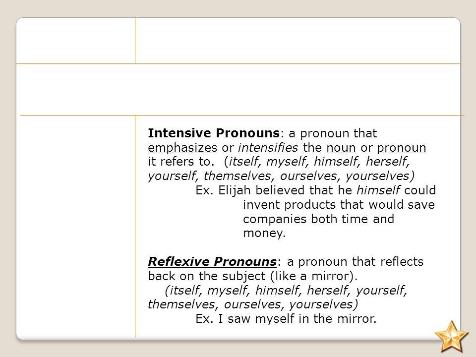 All things Pronoun ppt download – Intensive Pronouns Worksheet