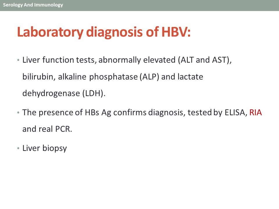 Laboratory diagnosis of HBV: