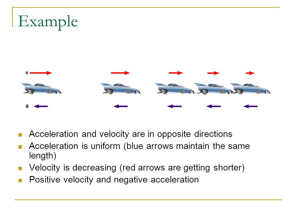 Example Acceleration and velocity are in opposite directions