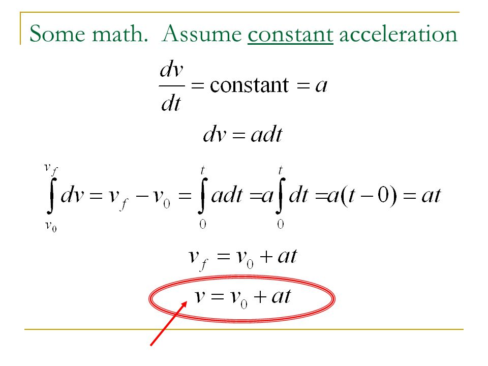 Some math. Assume constant acceleration