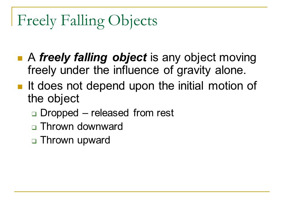 Freely Falling Objects
