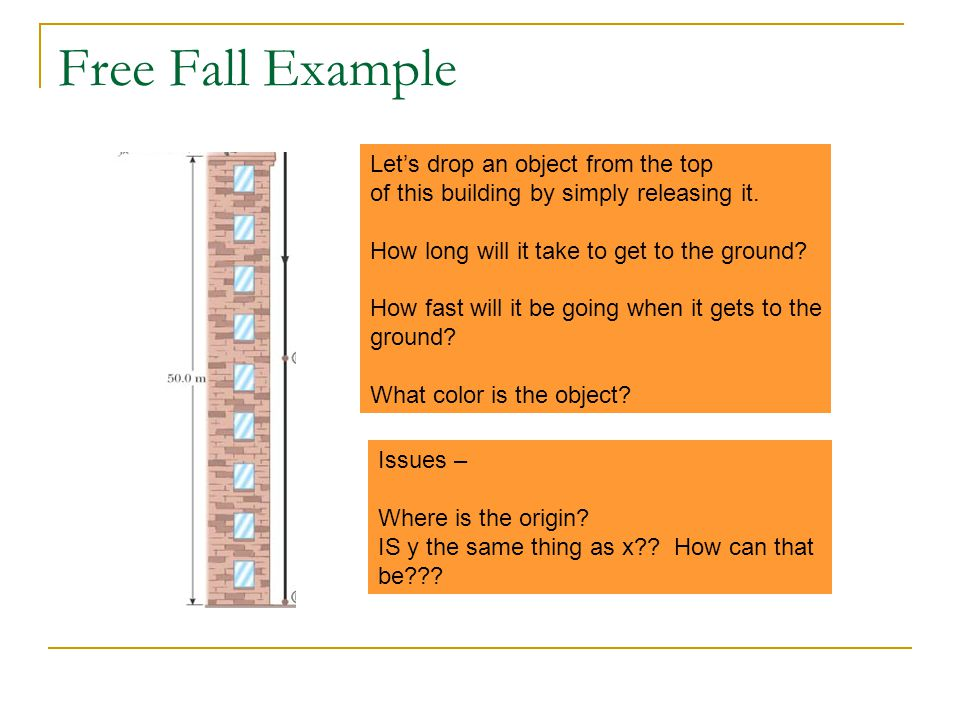 Free Fall Example Let's drop an object from the top