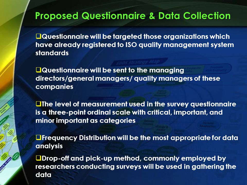 data collection and analysis questionnaire Structured methods: interviews, questionnaires and observation  deciding how to administer the questionnaire or interview 186  these data collection.
