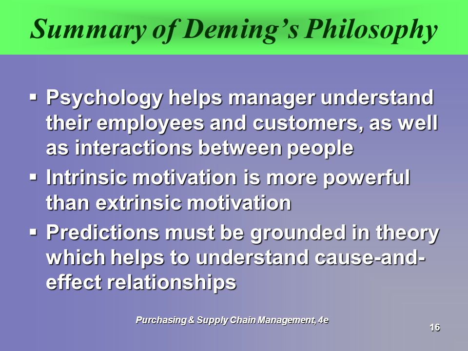 deming s philosophy It would be difficult to find a healthcare organization that explicitly stated its adherence to w edwards deming's management philosophy nevertheless, deming's guiding principles are considerably prevalent in today's healthcare environment - they are simply known under a different name.