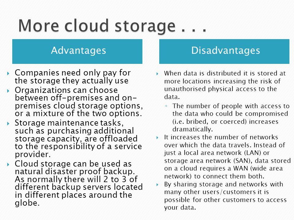More Cloud Storage Advantages Disadvantages