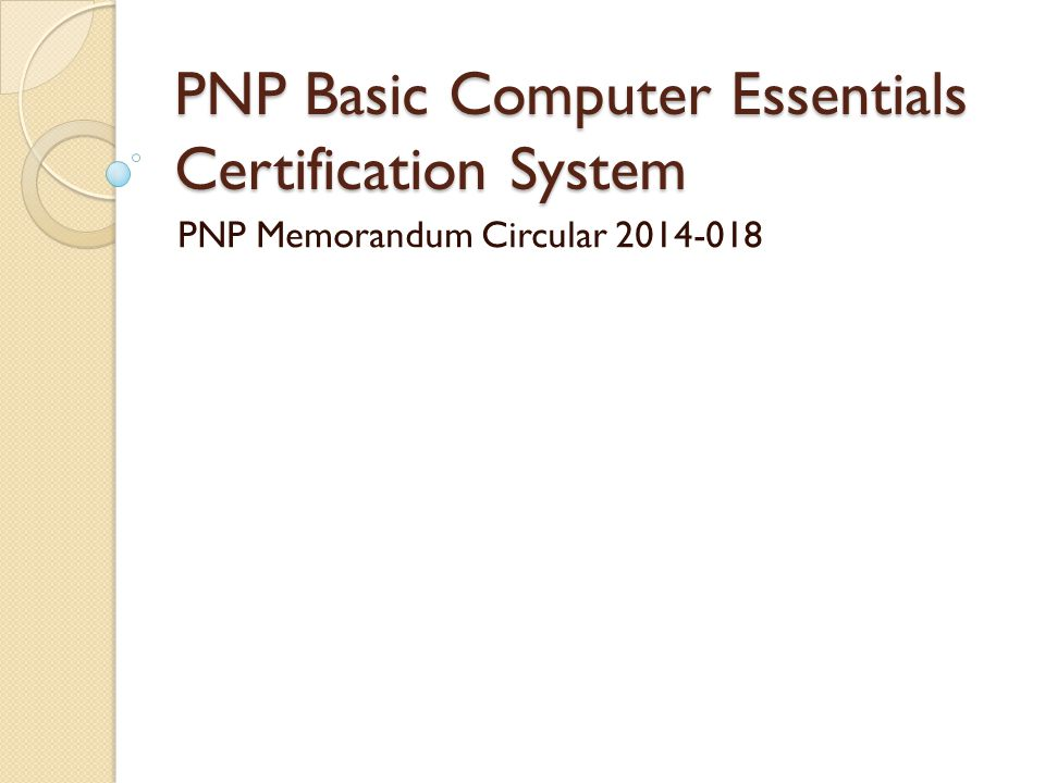 Pnp Basic Computer Essentials Certification System Ppt Video