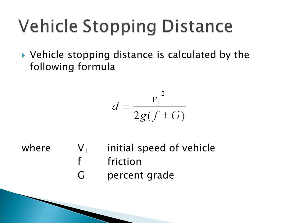 how to find stopping distance
