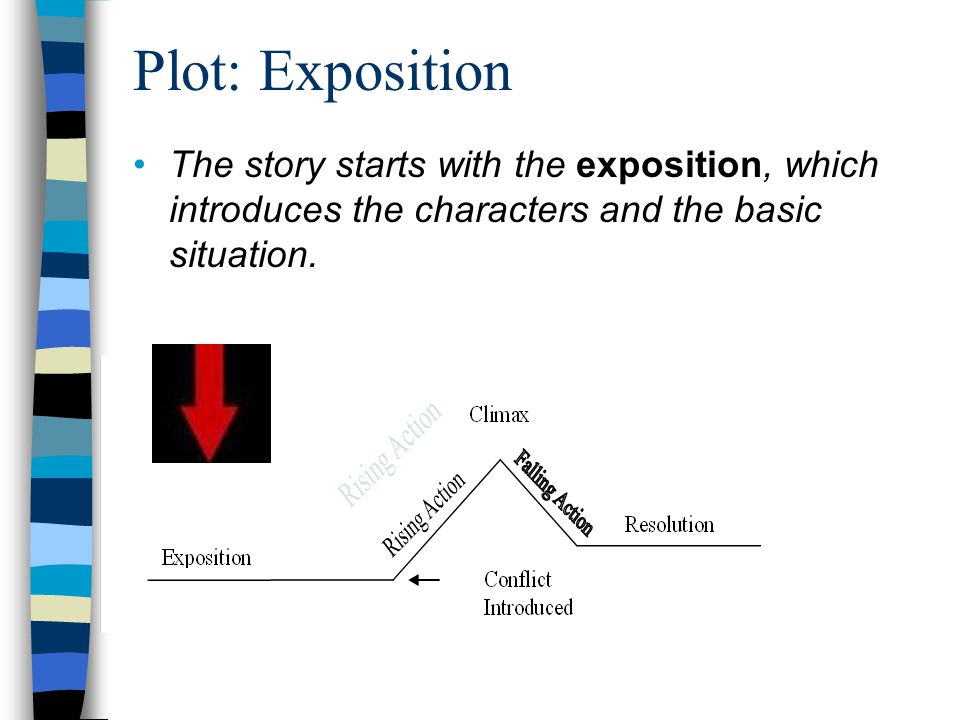 Plot: Exposition The story starts with the exposition, which introduces the characters and the basic situation.
