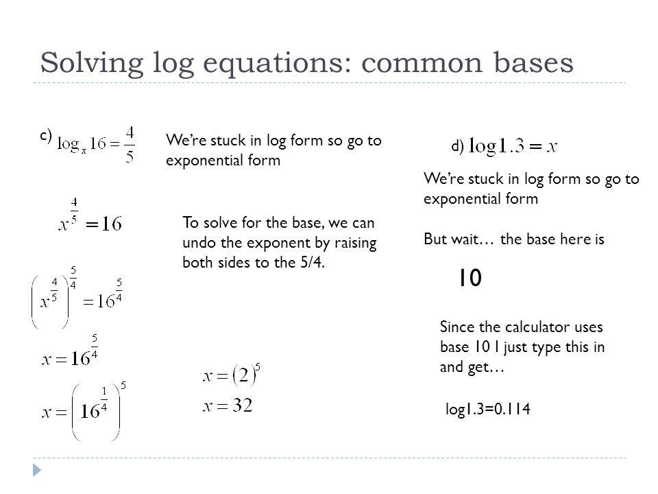 Solving Equations Using Logarithms Natural Log